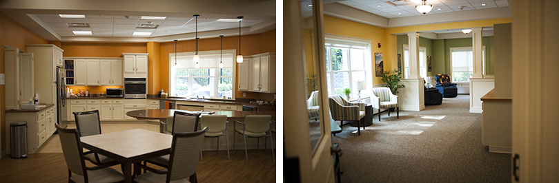 left: the therapeutic kitchen at the center. right: the living room and quiet space at the center.