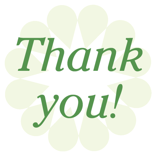 "text that reads ""thank you"" over light green flower petals"