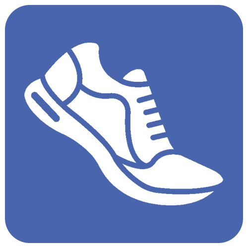 a white sneaker on a blue background